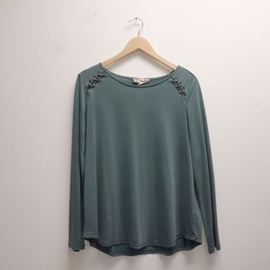 Pink Republic Green Lace Up Shoulder Top X Large